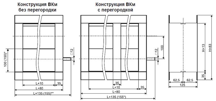 Габаритные и присоединительные размеры воздушных клапанов типа ВКм (мм)