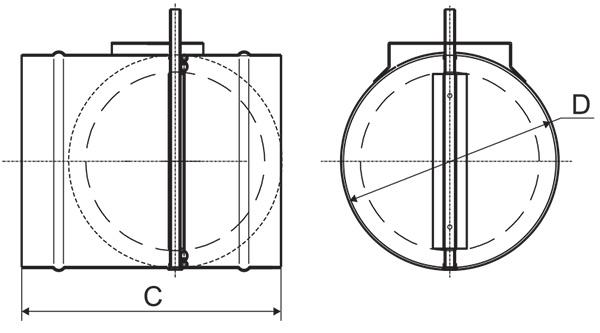Заслонки круглого сечения АЗД-122м-ЭП, АЗД-122-ЭП, АЗД-134-ЭП